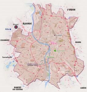 Gite en ville : Plan de Toulouse